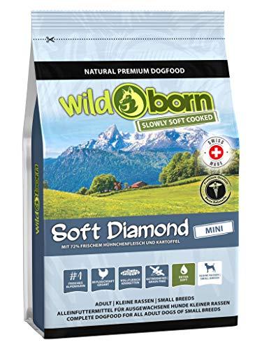 Wildborn getreidefreies Hundefutter Soft Diamond Mini 1 kg Softfutter für kleine Hunde   mit 72% frischem Schweizer Alpenhühnchenfleisch