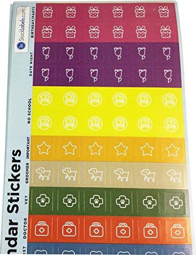Pianificatore Calendario Adesivi, 13 mm 1/2 Pollice Quadrato, 10 Fogli di 114 Adesivi, 1140 Etichette Totali