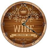 Reloj de pared de 25,4 cm con diseño de barril de vino rojo, reloj de sala de estar, reloj de pared grande de 25,4 cm
