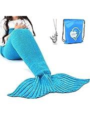 LAGHCAT Mermaid Tail Blanket Crochet Mermaid Blanket for Adult, Soft All Seasons Snuggle Mermaid Sleeping Bag Blankets, Classic Pattern