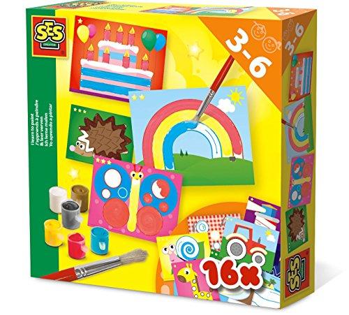 SES Creative Aprendo a Pintar - Kits de Manualidades para niños (Kids Drawing Stencil Set, Cepillar, Hoja para Colorear, Pintura, Niño, 3 año(s), Niño, 6 año(s))