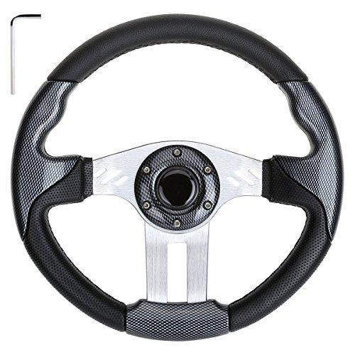 10L0L Golf Cart Steering Wheel, Generic of Most Golf cart EZGO Club Car Yamaha (style3 Gray)