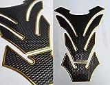 Protector de depósito para moto, aspecto de carbono, color negro y dorado, universal especial