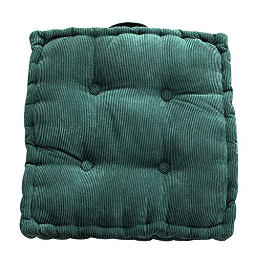 QVIVI Chair Cushion Seat Pad, Portable Thicken Corduroy Armchair Office Chair Sofa Seat Cushion, for Living Room Balcony Garden Outdoor, 2 Pack Green 4545CM