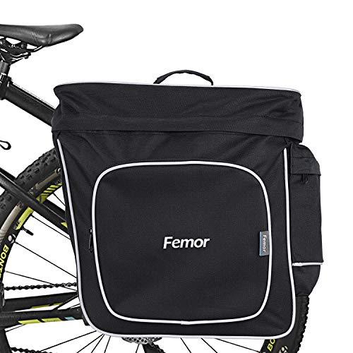 femor fahrradtaschen für gepäckträger, Doppel Satteltasche 30L Grosse Kapazität, Hinterradtasche mit Mehrere Tasche, gepäckträgertasche für Fahrrad