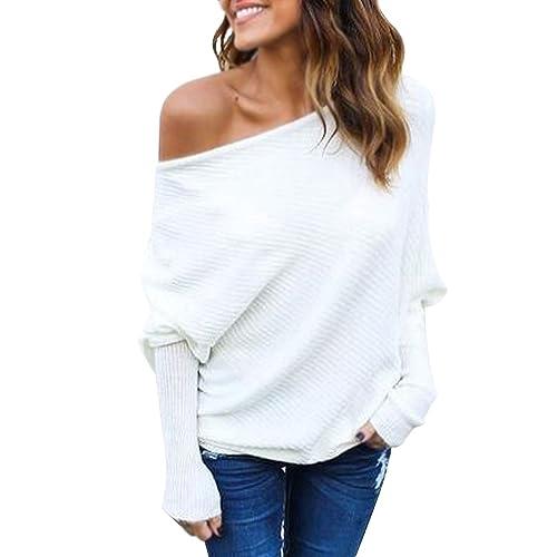 Minetom Mujer Moda Suéter Largo Casual Jersey Prendas de Punto de Cuello  Barco Batwing Mangas Largas b00e6b0efeb6