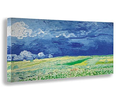 Giallobus - Quadro - Vincent Van Gogh - Campo di Grano sotto Un Cielo tempestoso - Stampa su Tela Canvas - Pronto da Appendere - Vari Formati - 100x50 cm