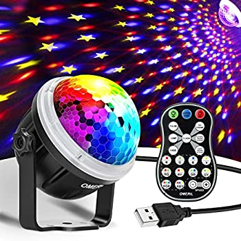 OMERIL Party Lights Disco Ball USB Powered 11 RGBY Color Disco Lights Sound Activated Strobe Light with Remote Control DJ Lights for Home Room Parties Birthday Bar Karaoke Xmas Wedding Show Club