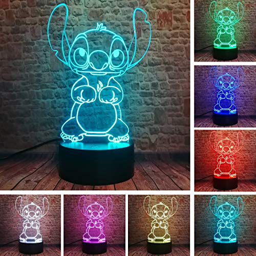 Fanrui Children Anime Animals Stitch - Lilo and Stitch - 3D Cartoon Kawaii Figure Action Lovely 7 Color Change IR Remote Night Lights Home Boys Room Decor Child Kids Friend Xmas Birthday Holiday Gifts
