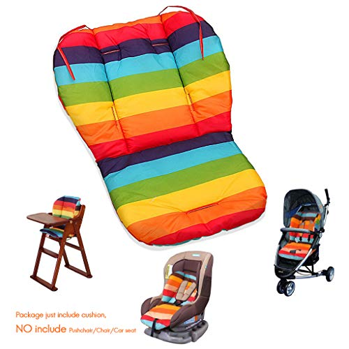 Fitzulam Stroller Cushion Waterproof Baby Highchair Padding Liner Childs Car Seat Infant Breathable Pad Pram Mat Breathable Pad Infant Pram Mat (Rainbow)