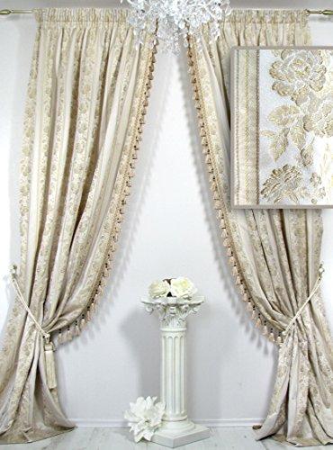 2er-Set Vorhänge mit Quastenborte, Kollektion *Villa Catania Streifen*, mit plastisch bestickten Blüten. Ateliergefertigt. Maßanfertigungen möglich!