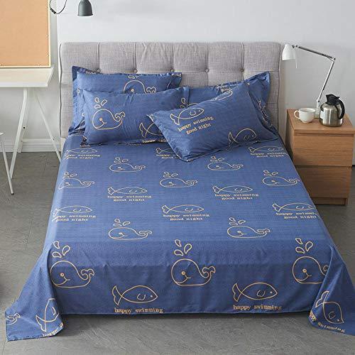 QIANBAOBAO 3-delad uppsättning ren färg student sovsal enkel dubbel tum vind täcke dammsäker tjockare alla årstider-val [enkelt lakan]_160 x 230 cm [1,2 m bred säng med hängande]