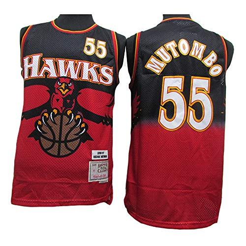 LSJ-ZZ E di Donne degli Uomini Jersey NBA Atlanta Aquila # 55 Mutombo, Mesh Traspirante Tessuto Retro Swingman Sport T-Shirt, Unisex Uniforme di Basket,M(175cm/65~75kg)