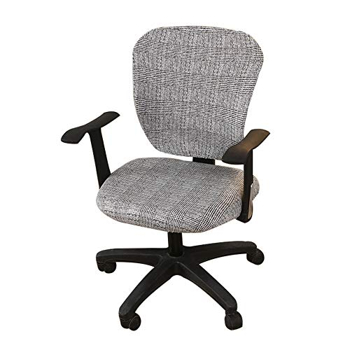 Jinzio Computer Office Chair Cover - Split Protective & Stretchable Cloth Polyester Universal Desk Task Chair Chair Covers Stretch Rotating Chair Slipcover, Charcoal Grey