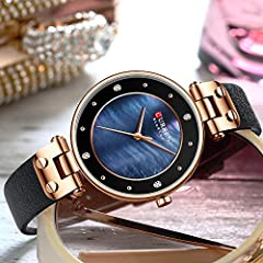 Creative Simple Quartz Watch Women's Dress Steel Mesh Watches New Clock Ladies Bracelet Watch relogios Feminino (Blue-Leather) #3