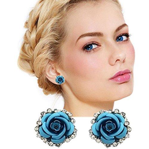 Jovono Pendientes bohemios con diamantes de imitación rosa para mujeres y niñas (azul)