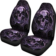 Purple Skull Printed Seat Covers Universal Front Seat Protector Mat Covers 2 Piece Full Wrap Buckets Seat Cover, Fit Most Cars, Sedan, SUV, Van