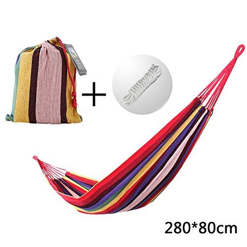 ZHAONAA Peut accueillir Plus de Personnes Toile balançoire hamac Camping Voyage rayé, 280 x 80 cm Sac de Transport Pratique (Color : Red)