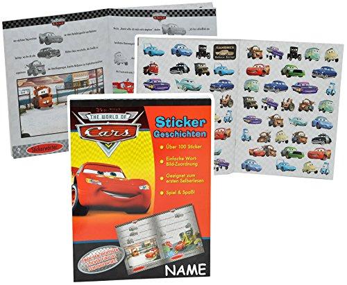 alles-meine.de GmbH Lese - Lern - Buch mit 100 Sticker + Geschichten - Disney Cars Lightning McQueen incl. Name -Autos Cars Auto ideal zum Lesen Lernen - Aufkleber für Jungen Sti..