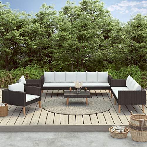 Juego de sofás de jardín de ratán de 5 piezas con cojines, 1 sofá de 3 plazas + 1 sofá de 2 plazas + 2 sillones + 1 mesa de café + 6 cojines para el asiento + 12 cojines para el respaldo 🔥