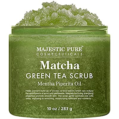 Matcha Green Tea Body Scrub for All Natural Skin Care - Exfoliating Multi Purpose Body and Facial Scrub Moisturizes and Nourishes Face and Skin - 10 oz - Great Gift for Her by Majestic Pure