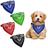 4 Pieces Adjustable Dog Bandana Collar Pet Triangle Scarf Collar Dog Triangle Bibs Pet Kerchief Accessories for Small and Medium Dogs, Puppies