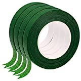 4 Rolls Floral Tape for Bouquet Stem Wrap and Florist Craft Projects Decorations(Dark Green)