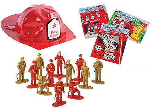 Firefighter Toy Party Favor Supplies 36 Piece Set for 12 Bundle Coloring Books Helmet