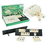 KAILE 106 Rummy Cube Game, Rummy Tiles Set Viaggi Gioco di Colori Estetivo con 4 Vassoi in Legno Antiscivolo e Borsa per Bambini e Famiglie