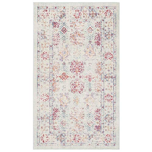 Safavieh Windsor Collection WDS309D Ivory and Fuchsia Vintage Distressed Bohemian Area Rug (3' x 5')
