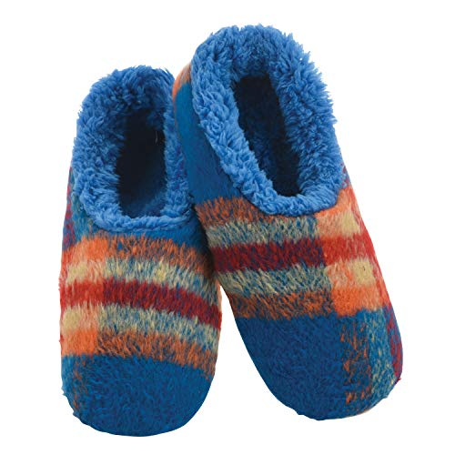 Snoozies Mens Slippers - Plush Plaids - House Slippers for Men - Blue & Orange - X-Large