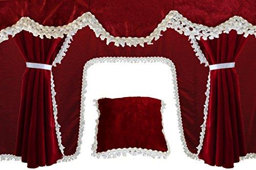 AutoCommerse - Juego de 5 cortinas de satén con borlas blancas, visera frontal + 2 ventanas laterales + cojín + cortina de túnel universal para camiones HGV camión Bordeaux
