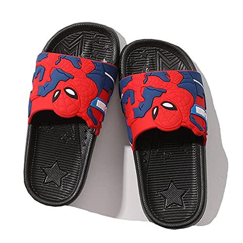 Kinder Strand Flip Flop Sommer Mädchen Pool Hausschuhe Spiderman Junge Muster Fußbett Kind Garten Pool Sandalen Zuhause rutschfeste Sandale,Black- 35~ nner Length 21cm