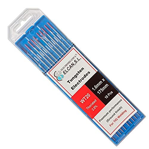 ELCAN Tungstenos soldadura TIG Torio 2.0% Rojo WT20 profesional, electrodos soldadura para torcha TIG de 1,0 1,6 2,0 2,4 3,2 mm, 10 unidades - Dimensiones: 1,6 x 175 mm