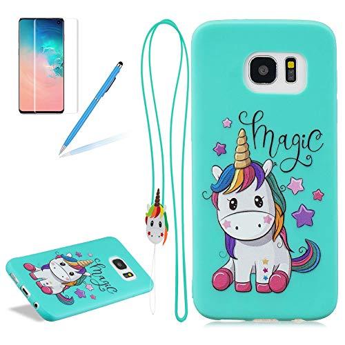Girlyard Case for Samsung Galaxy S7 Edge Silicone 3D Cute Cartoon Design with Strap,Shockproof Anti-Slip Soft TPU Slim Fit Rubber Bumper Gel Cover for Samsung Galaxy S7 Edge-Star Unicorn