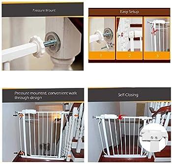 Sécurité pression Fit porte en métal Supports 76cm de haut La largeur peut être sélectionnée de 64 à 265.9cm porte bébé Pet Porte avec les extensions disponibles ( Color : Black , Size : 194~205.9cm )