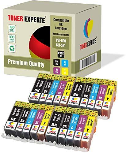 20 XL TONER EXPERTE Compatibles PGI-520 CLI-521 Cartuchos de Tinta para Canon Pixma iP3600 iP4600 iP4700 MP540 MP550 MP560 MP620 MP630 MP640 MP990 PGI-520BK CLI-521BK CLI-521C CLI-521M CLI-521Y