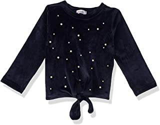 Giggles Pearl Detail Front Bow Long Sleeves Sweatshirt for Girls