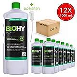 BIOHY Profi Spülmittel 12 x 1 Liter Flaschen + Dosierer | PHOSPHATFREI | Frei von Chemikalien &...