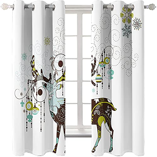 Modern And Simple Deer Series Printed Curtains Are Free Of Perforation And Easy To Install. Blackout Curtains Can Be Used In The Living Room, Bedroom, Balcony