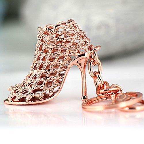 Arpoador 86113 Porte-clés créatif et tendance Motif chaussure femme à talon haut Idée cadeau Couleur or rose