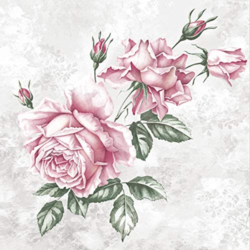 20 bonitas servilletas con rosas, estilo vintage, Decoupage 33 x 33 cm