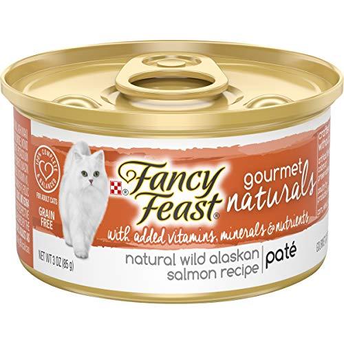 Purina Fancy Feast Grain Free, Natural Pate Wet Cat Food, Gourmet Naturals Wild Alaskan Salmon Recipe - (12) 3 oz. Cans