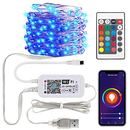 MoKo Smart RGB Fairy String Light Work with Alexa Google Home, 32.8ft 100LED 2.4GHz WiFi App Control Waterproof Music Sync String Light for Room TV Kitchen Home Party Christmas Indoor Outdoor Decor