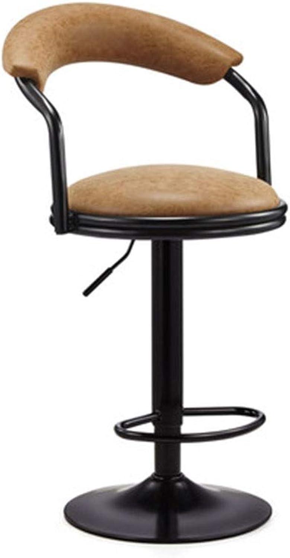 Bar Chair redating Chair High Stool Simple Back Home Reception Chair Bar Chair (color   Brown)