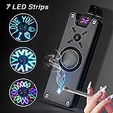 プラズマライターUsb充電式LEDライト照明、ストレスを和らげる、防風 非常に楽しい、驚くべき 小型 プレゼント,黒