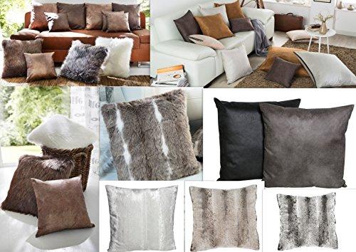 MB Warenhandel24 Kissenhülle Leder Fell Look Optik Kissenbezug Bezüge Kissen Sofa Hüllen mit RV (ca. 50x50 cm, Wildfell Optik Stone/braun)