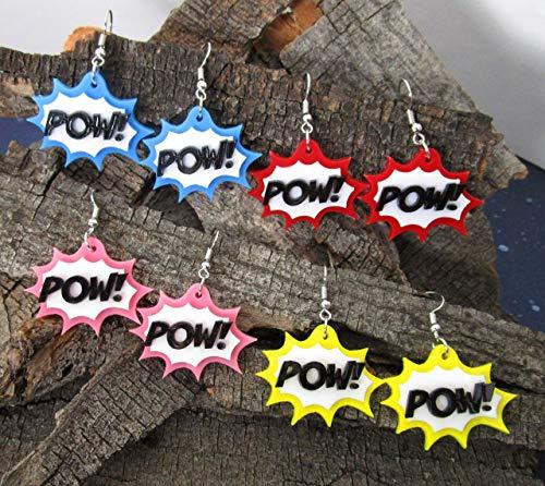 Comic Book Action Bubble POW! Word Dangle Statement Earrings