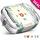 FOXBOXX® Brotdose Edelstahl Premium | Auslaufsicher mit 2 Fächer - plastikfrei nachhaltig | Lunch-Box Brot-Box Vesper-dose Brotbüchse Brotzeit-Box Bento | Kind Schule Kindergarten | Mini 800ml