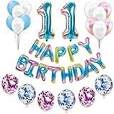Juego de decoración para cumpleaños número 11 para niñas, jóvenes,...